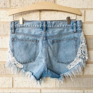 Free People Shorts - Free People Lace Raw Distressed Fringe Denim Short